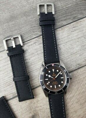 £9.95 • Buy Black Sailcloth Watch Straps | Fabric Calf Leather Lined Watch Band | 20mm 22mm