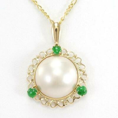 $498 • Buy Jewelry 18K Yellow Gold Necklace Mabe Pearl Jade About5.5g Free Shipping Used