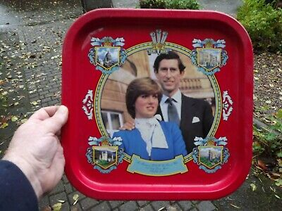 £12.99 • Buy 1981 Wedding Of Prince Charles & Lady Diana Large Square Tin Tray With Portraits