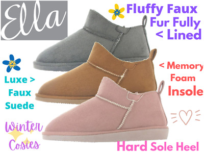 £12.95 • Buy Ladies Ella Shoes Faux Suede Fur Lined Pull On Ankle Slipper Boots Slippers