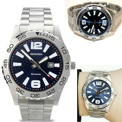 £28.95 • Buy Sekonda Mens Gents Watch Silver Stainless Steel Strap With Blue Dial & Date