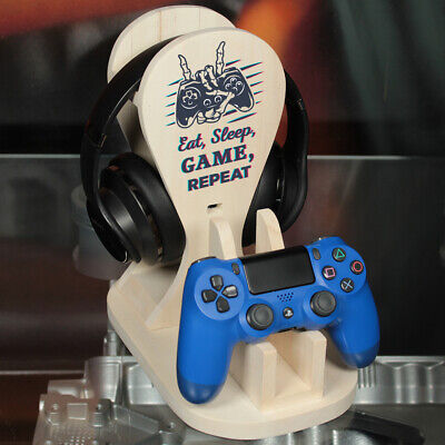 £19.50 • Buy Personalised Eat Sleep Game Repeat Wooden Controller And Headphone Game Station
