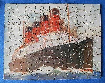 £3.99 • Buy Cunard Mauretania Wooden Jigsaw With Original Box; 1920s; Made By Chad Valley