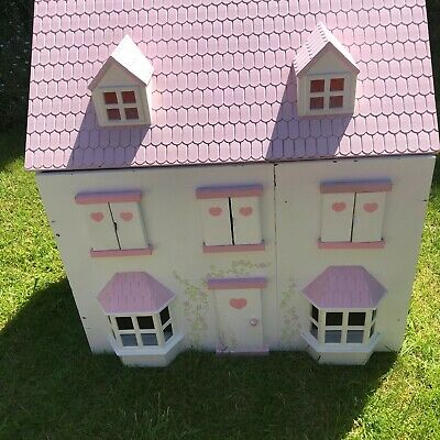 £16.99 • Buy Large Wooden Dolls House - Pink Roof - 3 Floors