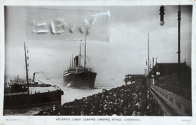 £7 • Buy Atlantic Liner Leaving Landing Stage, Liverpool. Real Photographic Postcard.