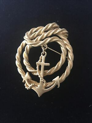 $15 • Buy Vintage M Jent Signed Rope Style Anchor Pin Gold Tone Nautical Brooch USA