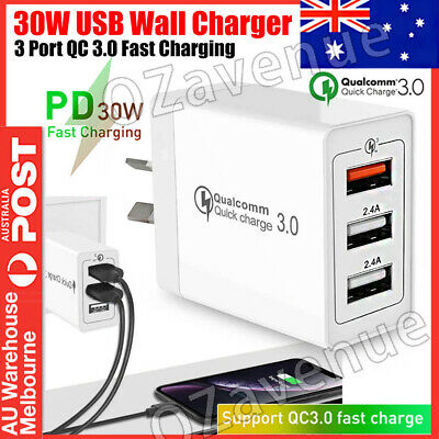 AU15.98 • Buy 30W Qualcomm 3Port QC3.0 Fast Charging USB Wall Charger Adapter For IPhone AU