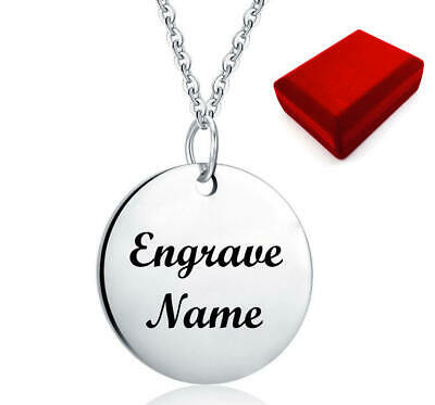 $ CDN25.02 • Buy Silver Tone Personalized Steel Round Name Plate Necklace Engraving Pendant #1026