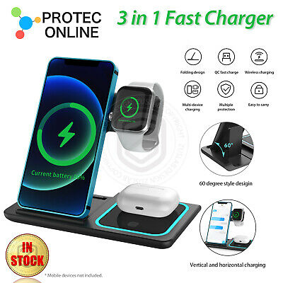 AU39.95 • Buy 15W 3 In1 Wireless Charger Stand QI Fast Charging Dock For Airpods IPhone IWatch