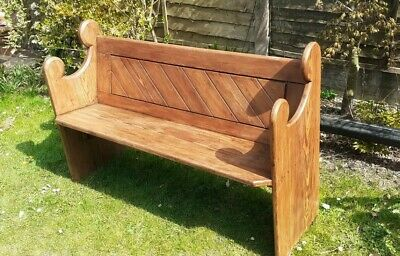 £275 • Buy Solid Pine Wooden Church Pew Settle Monks Bench Hall Seat With Original Row No.