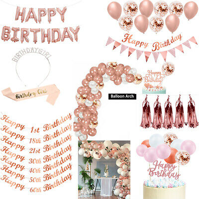 £3.69 • Buy Rose Gold Happy Birthday Party Decorations Banner Bunting Balloons18th 21st 30th