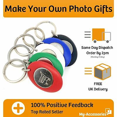£4.90 • Buy Trolley Coin Keyring 25mm Photo Insert  Fob Pound Euro Token DIY Make Your Own