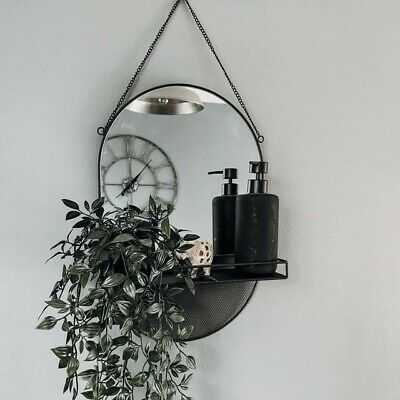 £16.99 • Buy Black Hanging Mirror With Shelf Decor Metal Home Wall Mounted Mirror