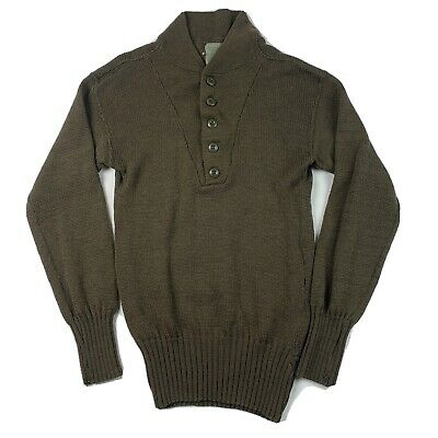 $11.90 • Buy Vintage US Military 100% Wool Army SWEATER OD 5 Button Brown Size Medium 38-40