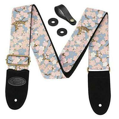$ CDN28.32 • Buy  Guitar Strap Includes Strap Button & 2 Strap Locks.Leather Pink Cherry Blossom