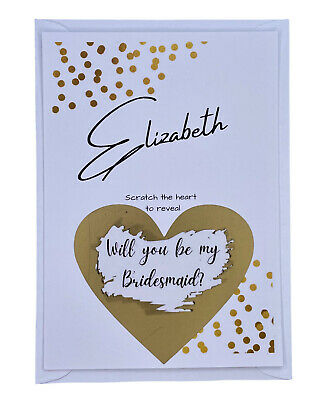 £1.50 • Buy Personalised Will You Be My Bridesmaid Scratch Card, Bridesmaid, Wedding Size A6