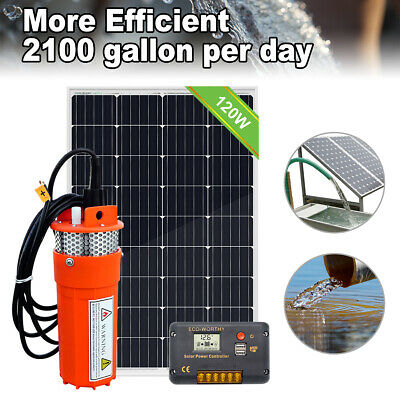 £160 • Buy 120W Solar Panel With 12V Deep Well Water Pump For Home Irrigation Ranch Farm