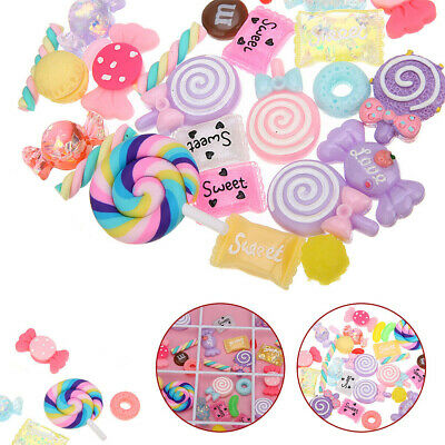 AU13.26 • Buy 30pcs DIY Scrapbooking Slime Beads Accessories Candy Flatbacks Crafts Colorful