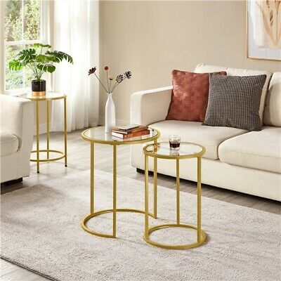 £61.99 • Buy Round Metal Frame Side End Table Nesting Table With Glass Top For Living Room