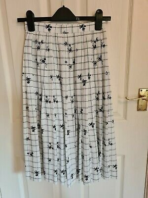 £7.04 • Buy Vintage Claude Lema Pleated White & Black Floral Checked Midi Skirt Size 6