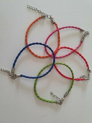£3 • Buy 5 Faux Leather Braided Bracelets With Chain Extender Many Colours Available