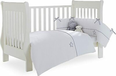 £25 • Buy Clair De Lune Grey/White Silver Lining Cot/Cot Bed Quilt And Bumper Bedding Set