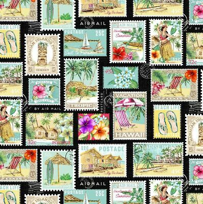 £5.50 • Buy Michael Miller Fabric • Tropical Getaway Postage Stamp • 100% Cotton Material