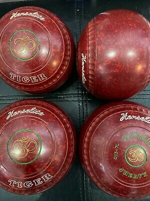 £139 • Buy Henselite Tiger Lawn Bowls - Size 4 - Stamped 2024 Ruby Rich Colour