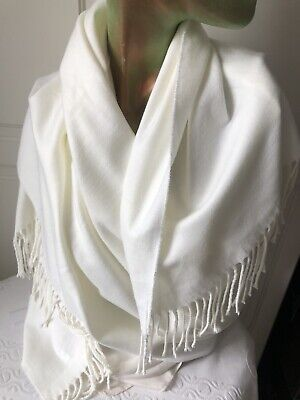£15 • Buy Large Pure Cashmere Shawl In Pale Cream, With Tassels