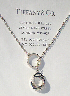 £369.99 • Buy Tiffany & Co Sterling Silver Chain 1837 Interlocking Circles Lariat Necklace