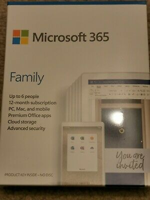 AU106.98 • Buy MICROSOFT Office 365 Family (1 Year Subscription, Up To 6 People) - New & Sealed