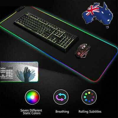 AU15.99 • Buy 900MM RGB LED Gaming Mouse Pad Desk Mat Extended Anti-slip Rubber Speed Mousepad