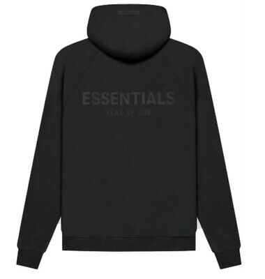£70 • Buy Fear Of God Essentials Hoodie 2021 Black / Stretch Limo - Extra Extra Small