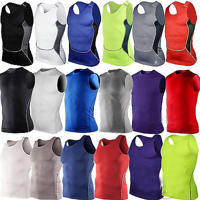 £8.99 • Buy Men's Tank Athletic Compression Tops Gym Sports Vest Base Layer Fitness Tops