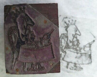 £9.95 • Buy Vintage Letterpress Printing Block - King At Table With Champagne Bottle