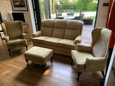 £300 • Buy Parker Knoll 3 Seater Sofa And 2 Winged Back Arm Chairs With Foot Stool