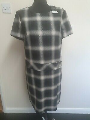£17 • Buy Wome Next Tailoring Shift Dress Black & White Checked Belted Size 14R  BNWT