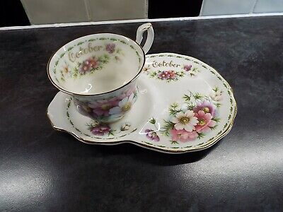 £9.99 • Buy Royal Albert Flowers Of The Month Tennis Set October Cosmos 2nd Quality