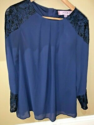 £3.55 • Buy NWOT Nicole Richie Collection Navy Black Lace Tunic Blouse Shirt Lined SMALL