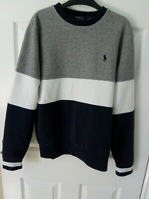 £8 • Buy Ralph Lauren Polo Mens Blue Grey And White Sweatshirt, Size Small