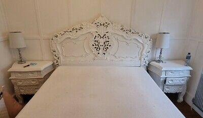 £499 • Buy Antique White French Heavily Carved Rococo Bed-Kingsize 5ft + Bedsides + Matt.