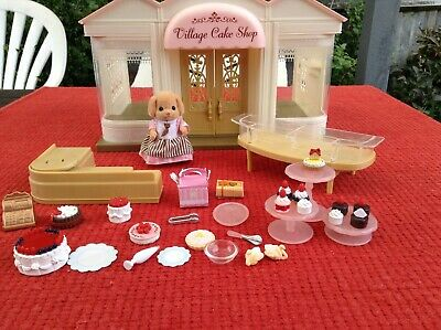 £13.99 • Buy Sylvanian Families Cake Shop With Lots Of Cakes, Poodle Dressed Figure Bundle