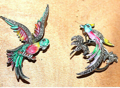 £24.99 • Buy Two Vintage Marcasite And Enamel Bird Brooches Incl Parrot Send Free To Uk