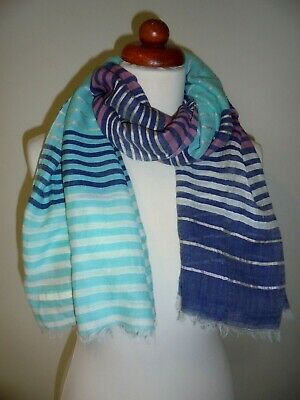 £2.99 • Buy Seasalt - The Lovely Large 'shingle Scarf' Navy, Pink & Turquoise Stripes