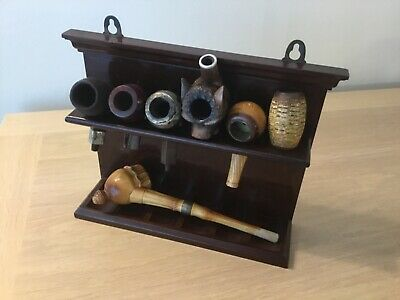 £17.50 • Buy Vintage Smoking Pipe Rack Holding 6 Pipes  + With Pipe And 5 Pipe Bowls