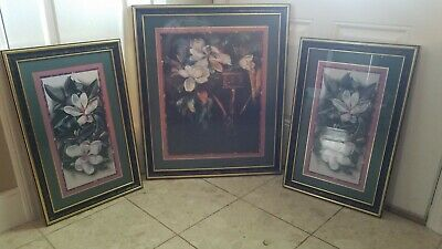$70 • Buy Homco Home Interiors Set Of 3 White Magnolias Leaves Orchids Pictures