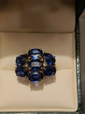 £150 • Buy 9ct Gold Kyanite And Diamond Cocktail Ring Size N