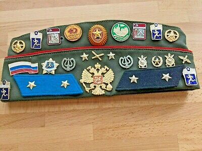 £6.36 • Buy RUSSIAN SOVIET USSR ARMY MILITARY PILOTKA CAP HAT With PINS & PATCHES