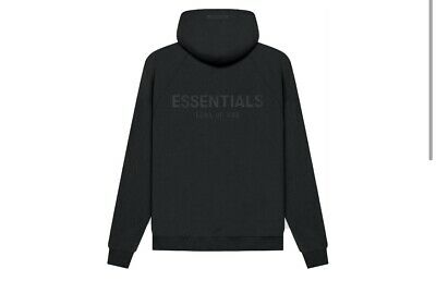 £139.99 • Buy Fear Of God Essentials Pull Over Hoodie, SMALL, Black/ Stretch-limo. (SS21)