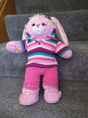£11.99 • Buy Build A Bear Pink Daisy Bunny BAB 16 Ins 1 Outfit Hoodie Shoes Rabbit Flower